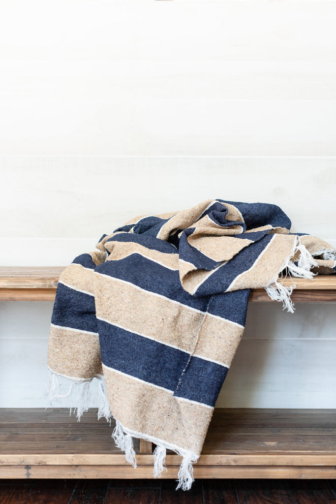 Cotton Navy & Khaki Throw