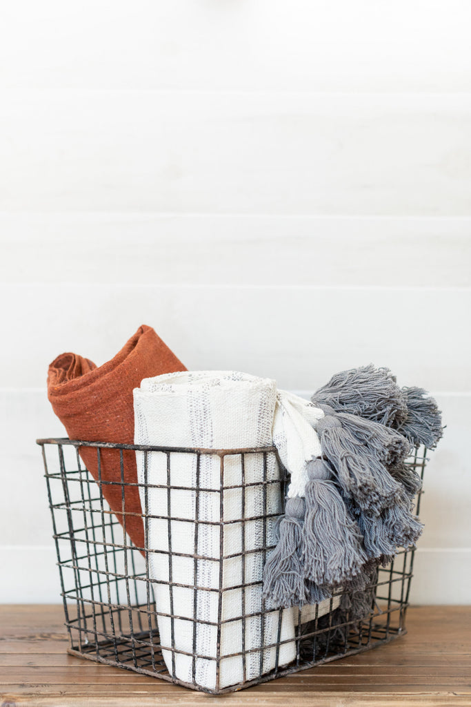 Gray Tassel Throw