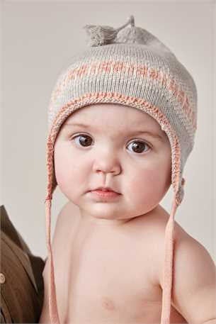 Cotton Knit Hat with Tassels