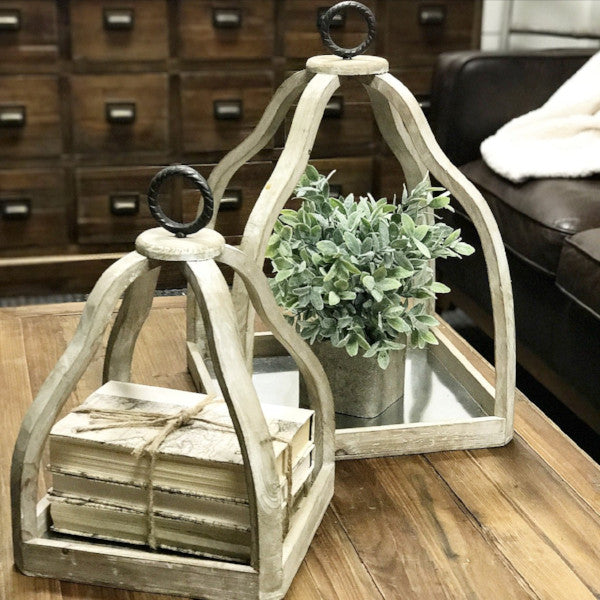Set of 2 Decorative Wood & Metal Trays