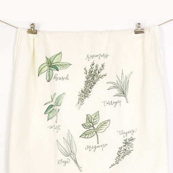 Assorted Herbs Tea Towel