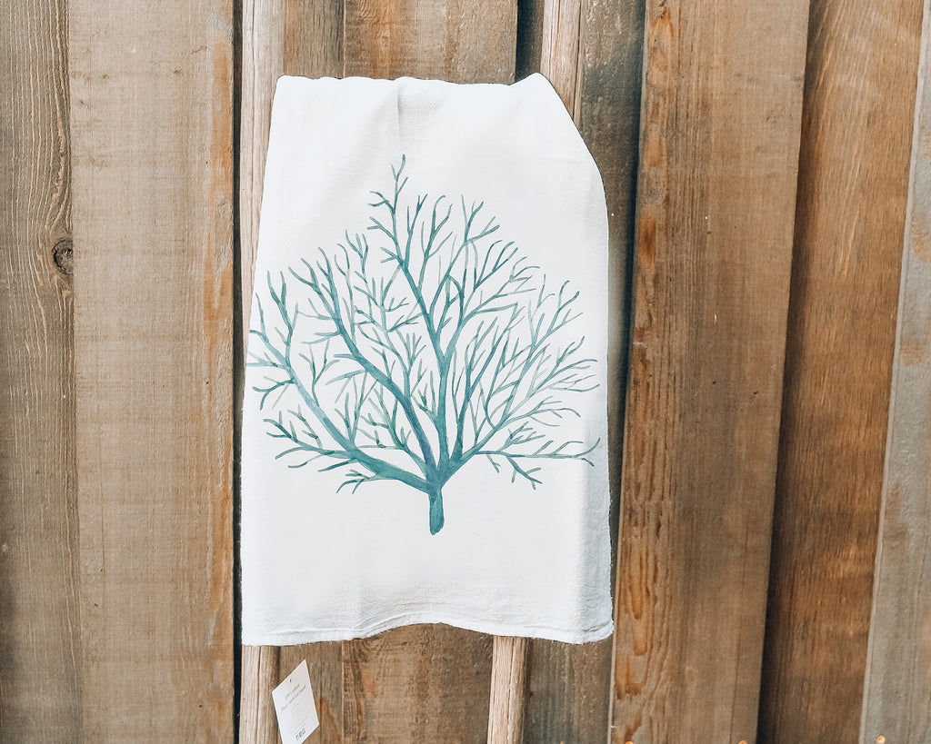 Blue Coral Tea Towel