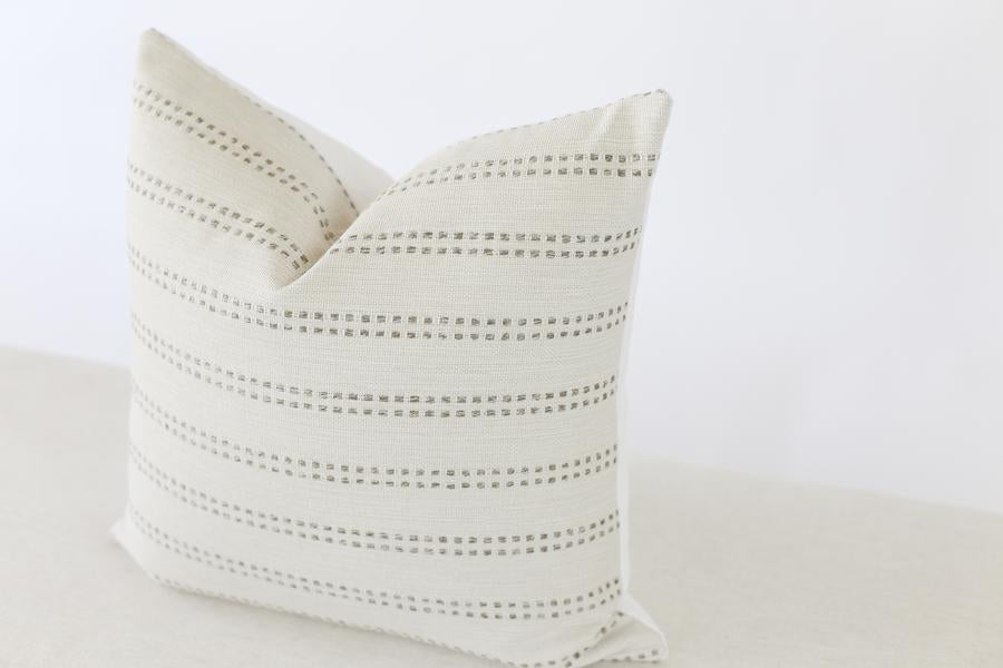 Tatum Grey Stripe Pillow Cover