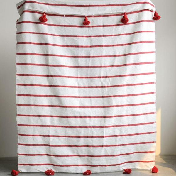 Red Tassel Throw
