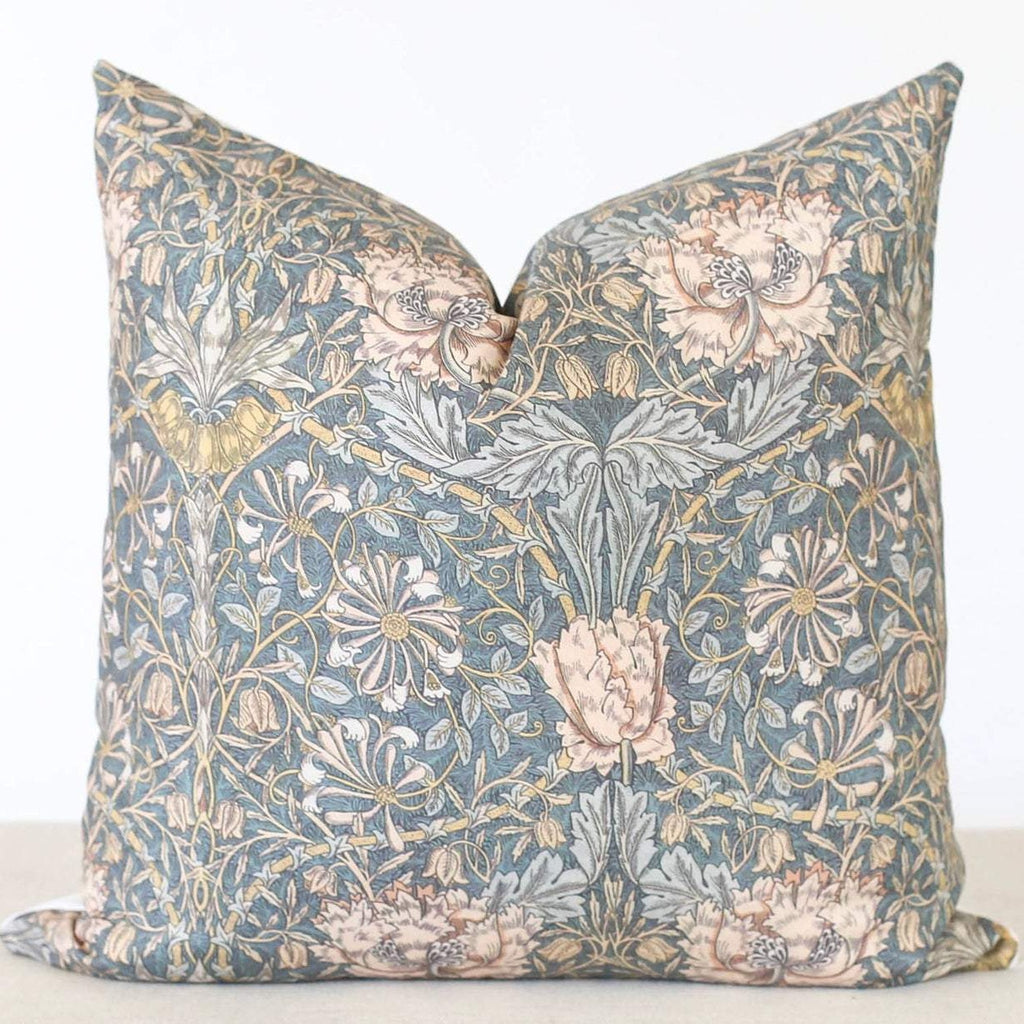 Grey Floral Pillow Cover