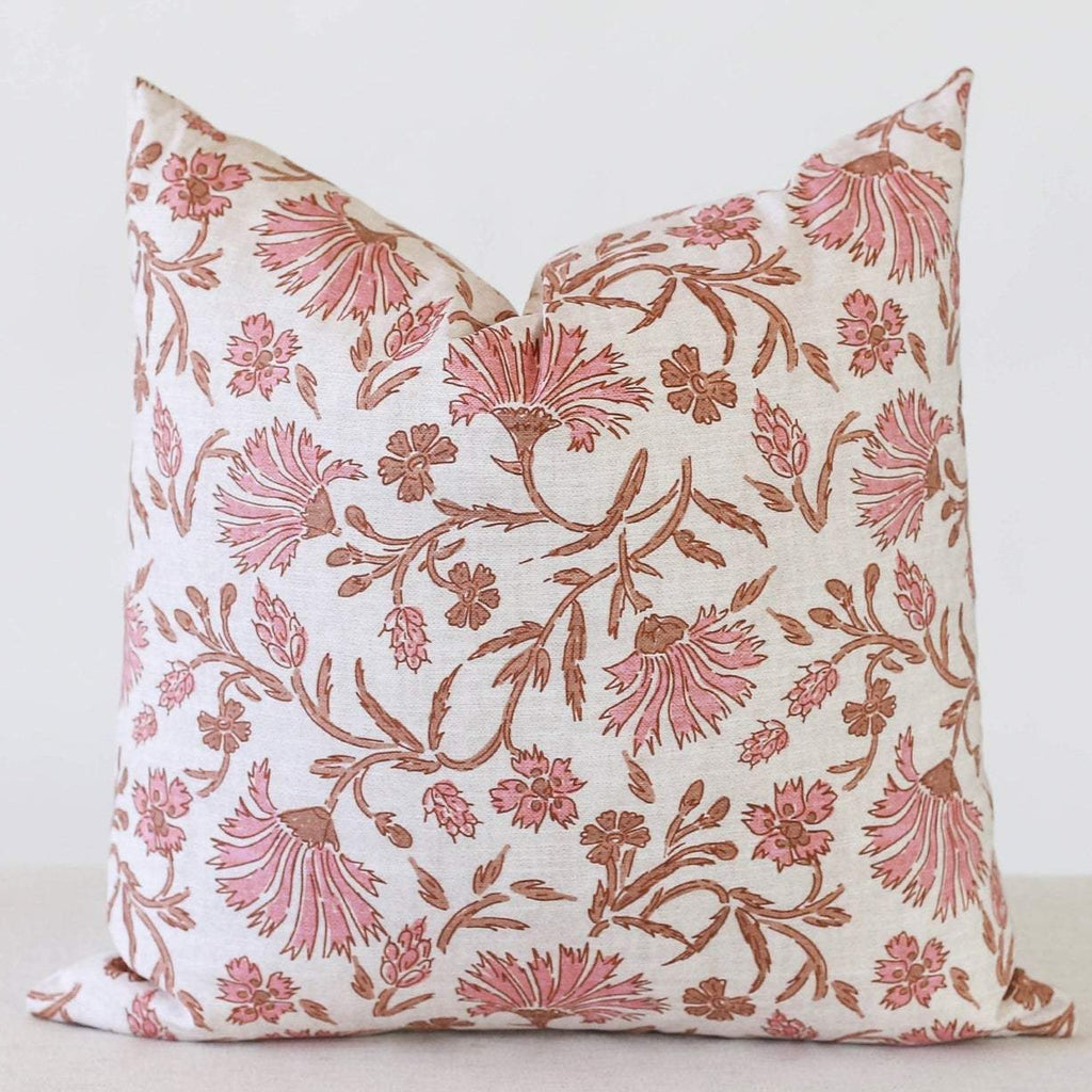 Coral Wildflower Pillow Cover