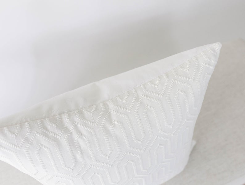 White Textured Pillow Cover