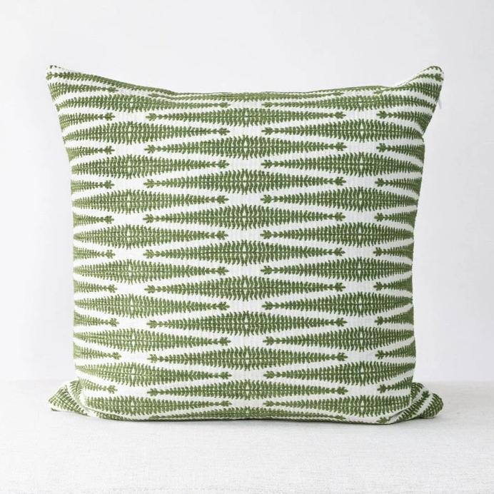 Green Textured Pillow Cover