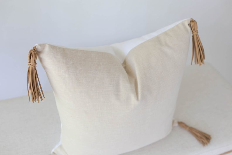 Linen & Leather Pillow Cover