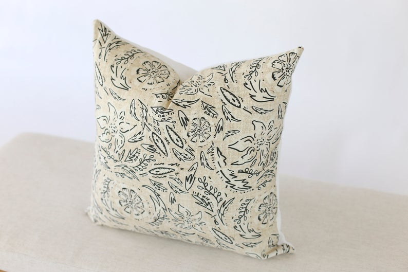 Black & White Floral Pillow Cover