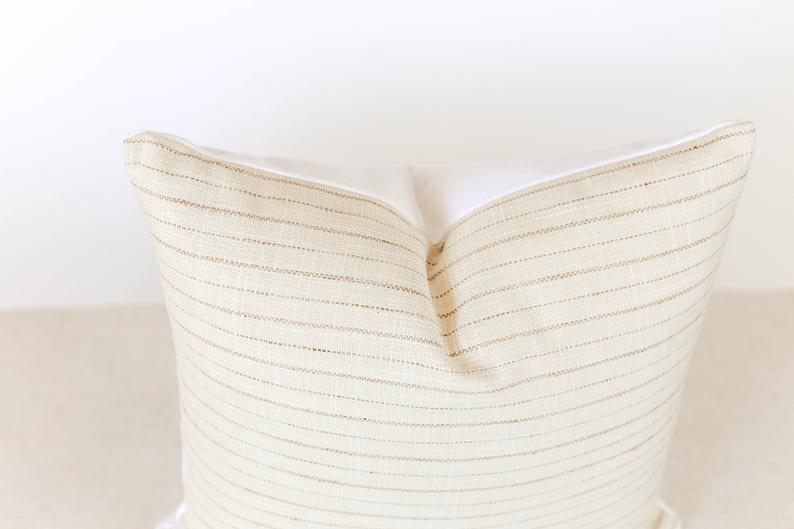 Cream Striped Pillow Cover