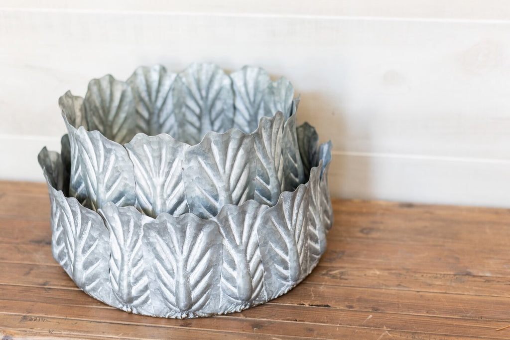 Galvanized Leaf Bowl Set