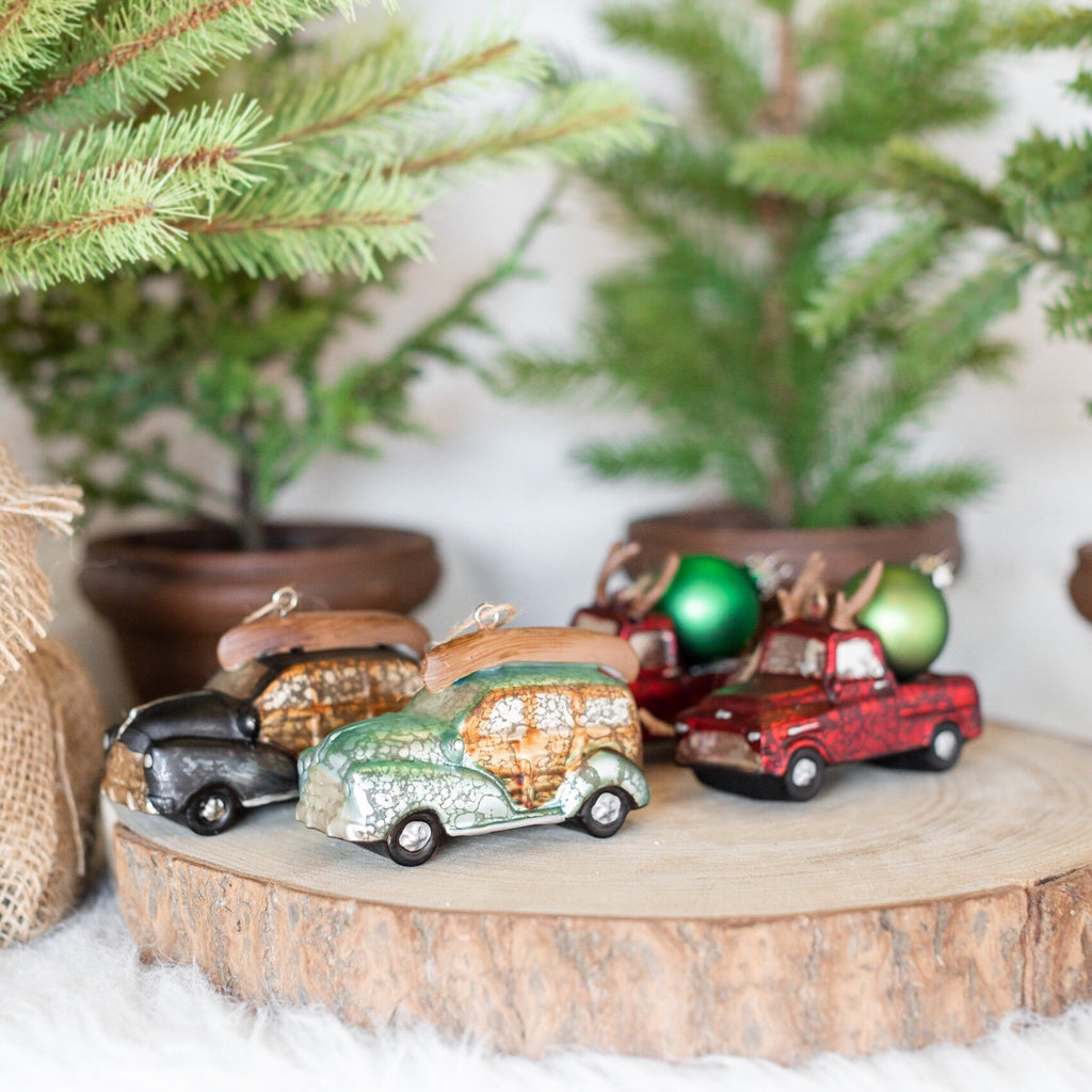 Set of 4 Vintage Glass Car Ornaments