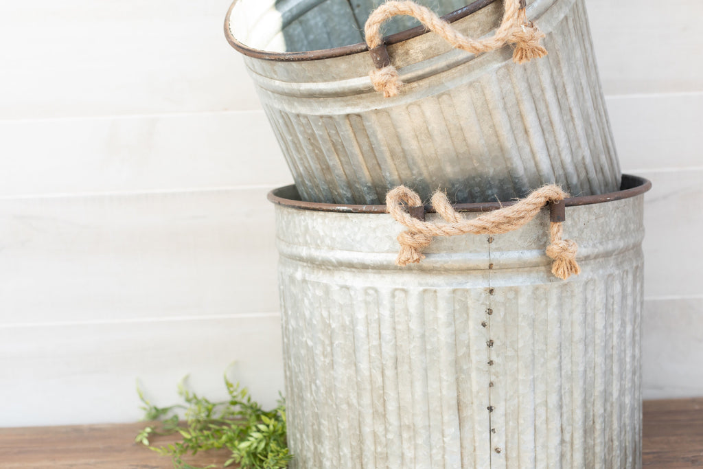 Galvanized Buckets with Rope Handles