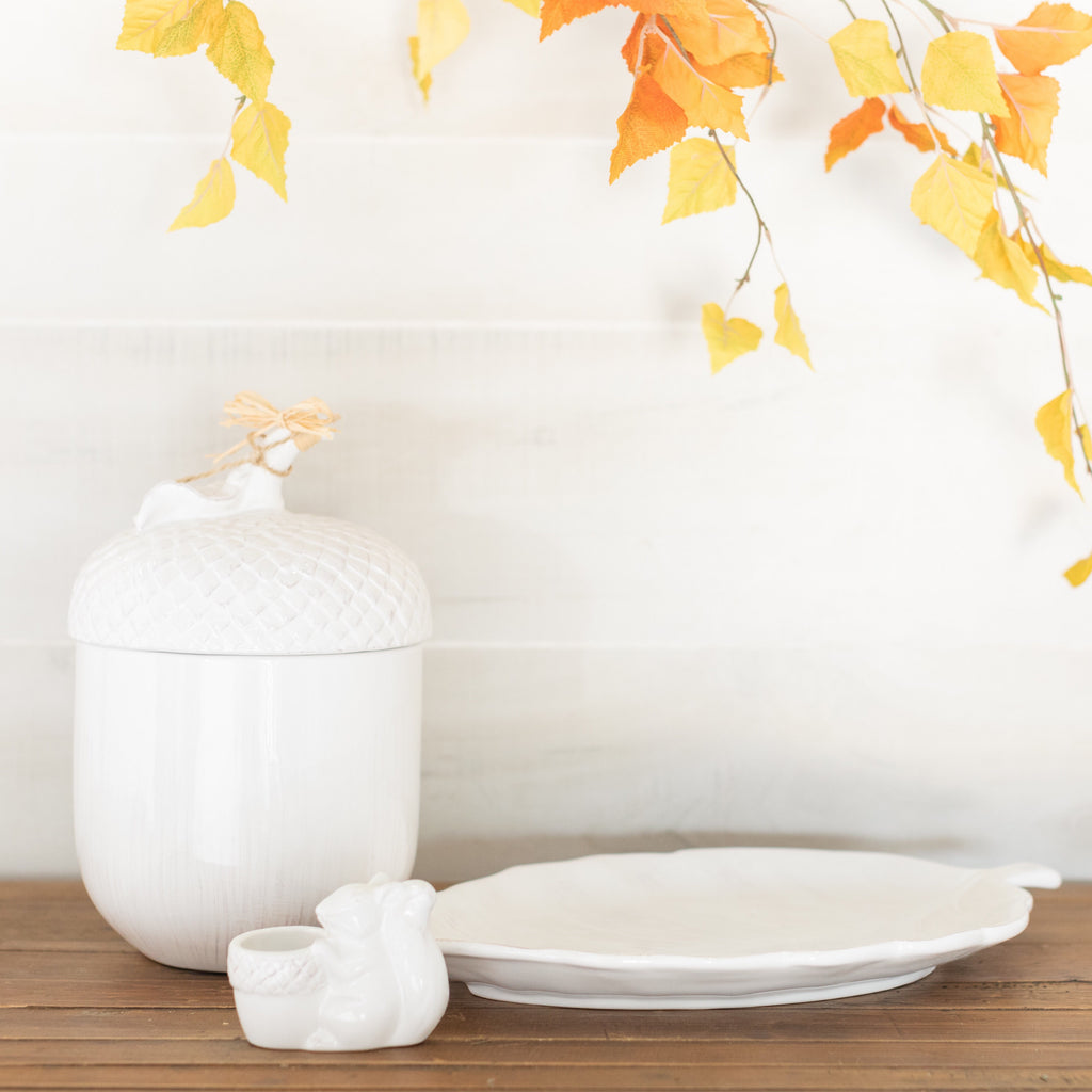 Ceramic Leaf Platter & Squirrel Toothpick Holder