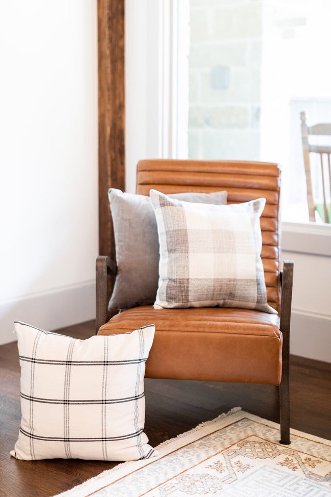 Neutral Plaid Pillow Cover