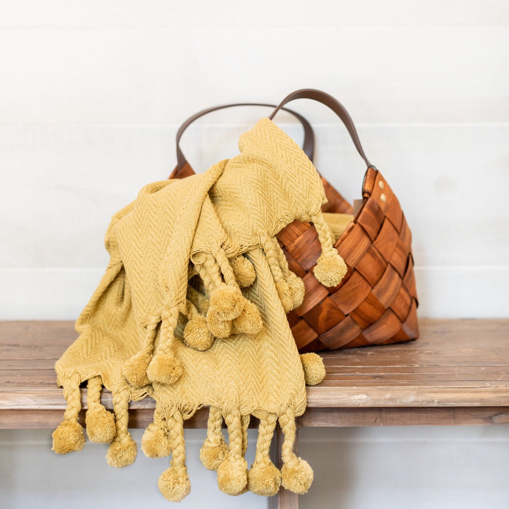 Mustard Pom Throw