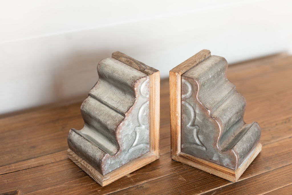 Iron & Wood Bookends