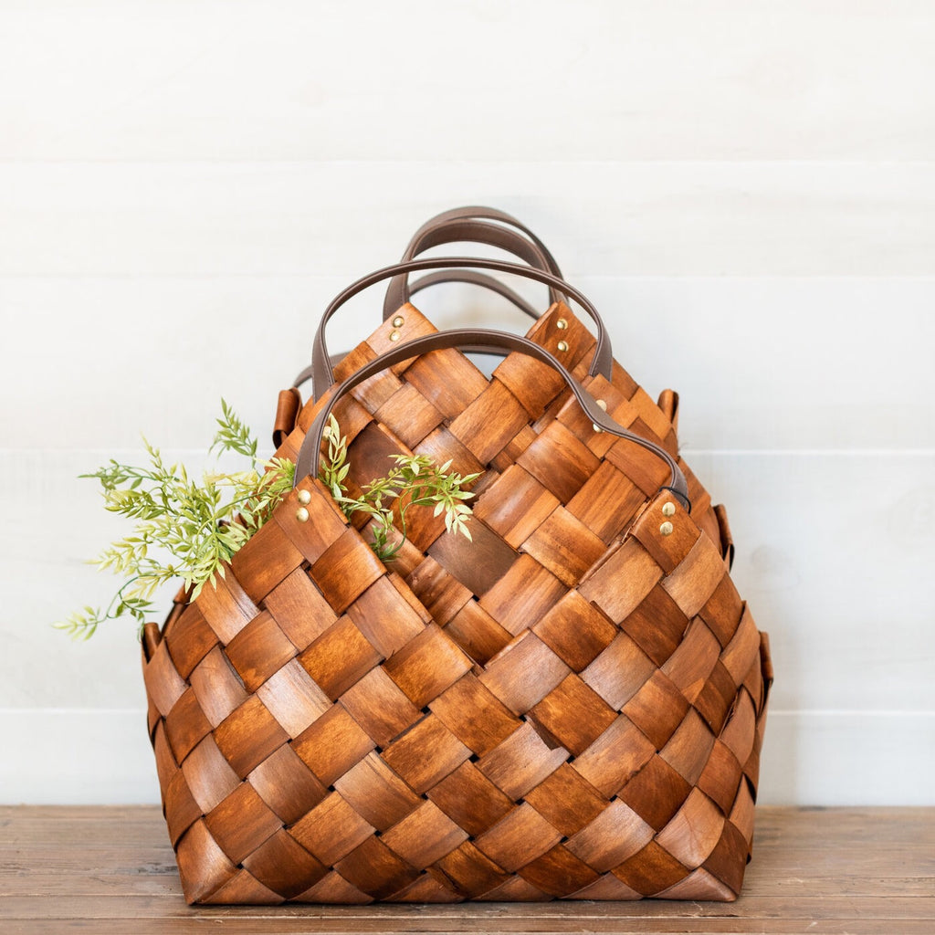 Seagrass & Leather Basket Set