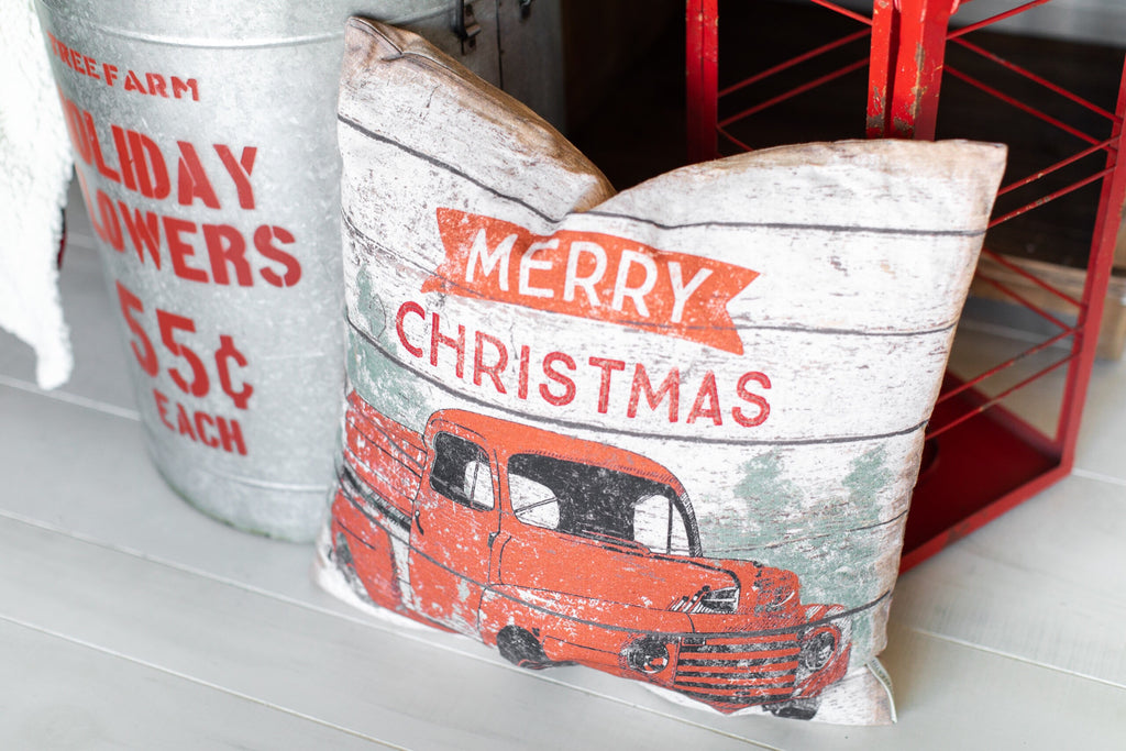 Christmas Pillow - Vintage Truck