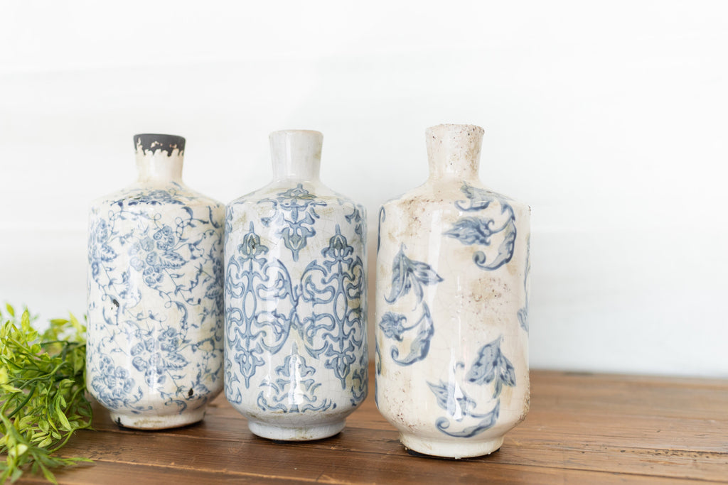 Tall Transferware Vase Set