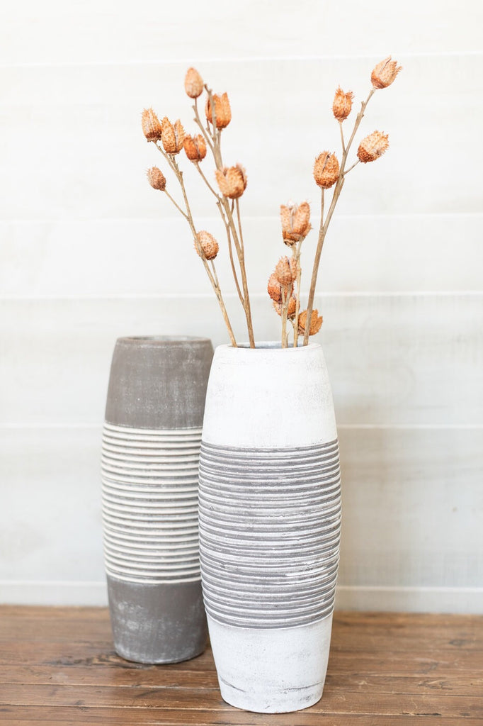 Ribbed Clay Vase