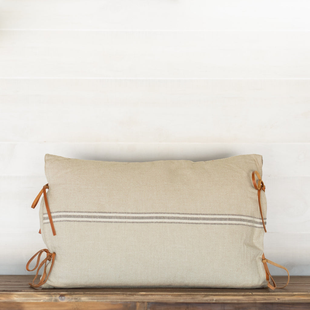 Leather Tie Oblong Pillow
