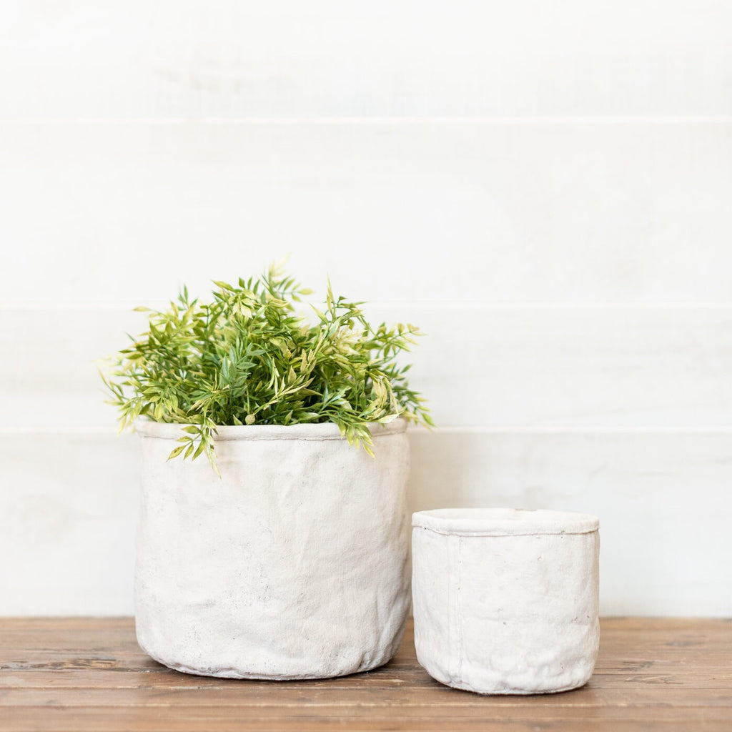 Concrete Sackcloth Planter Set