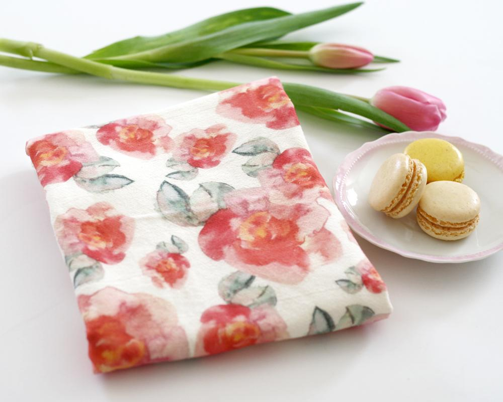 Pink Flowers Tea Towel