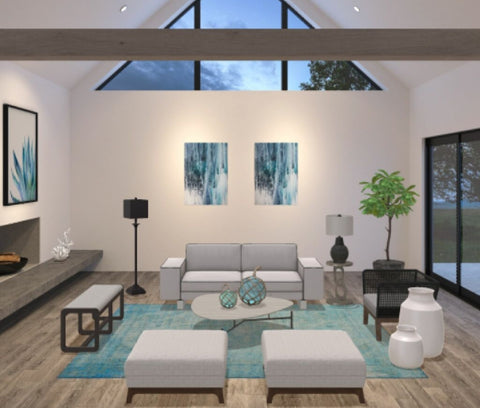 Modern living room blue tan and white
