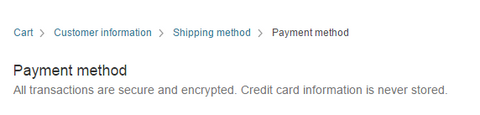 Cart - Customer Information - Shipping Method - Payment Method
