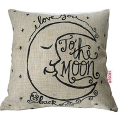 Love You to the Moon and Back Pillow Linen & Cotton
