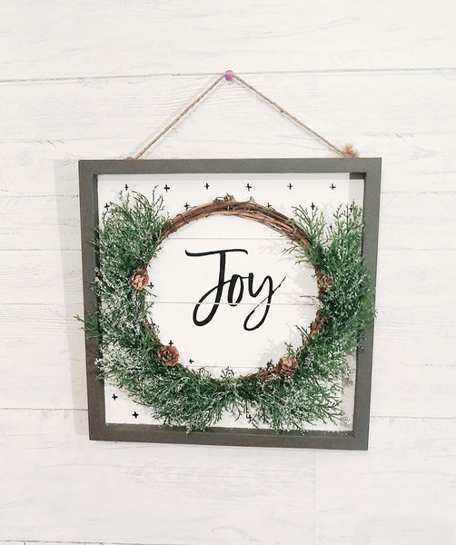 give JOY sign with ship lap and wreath - Barrett Renovation & Home