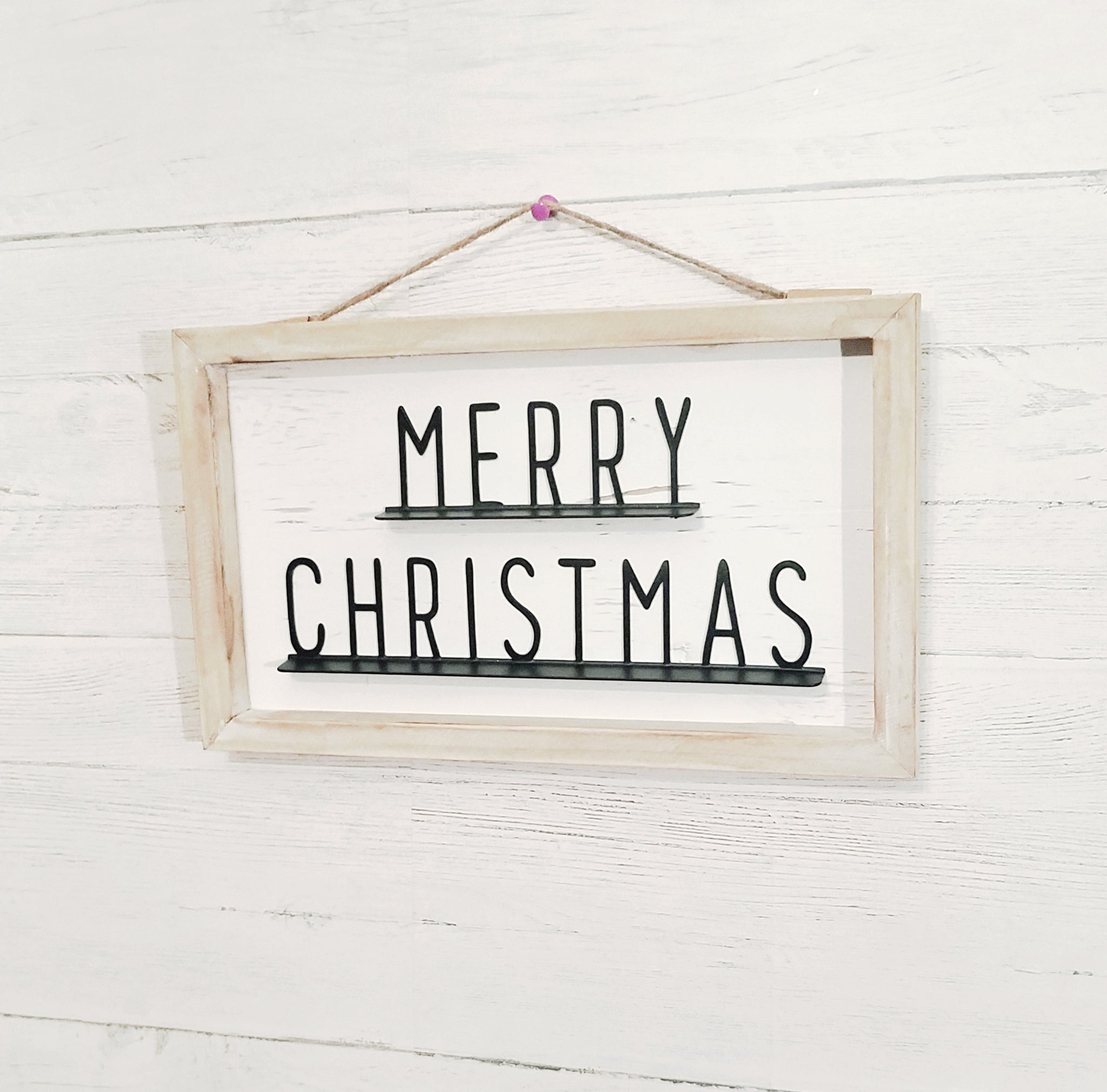 give JOY Merry Christmas metal and wood sign