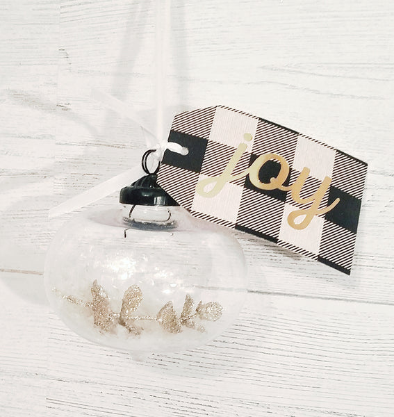 give JOY ornament white bells or gold branch