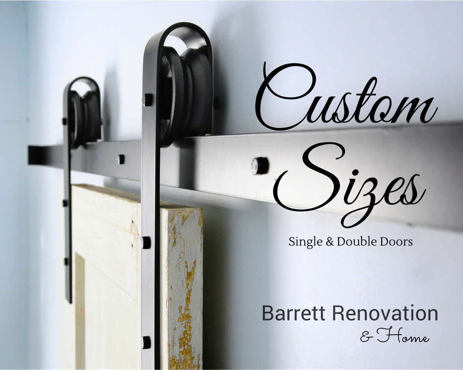 Custom Size Barn Door Hardware 8ft, 9ft, 10ft, 12ft, 14ft, 16ft, 18ft - Barrett Renovation & Home