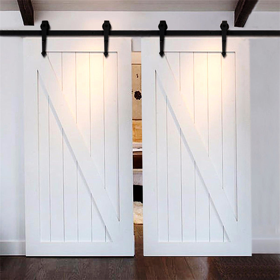 Barn Door Hardware 12ft Arrow Black Double Door - Barrett Renovation & Home