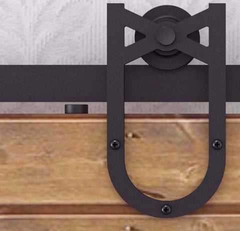 Barn Door Hardware Horse Shoe 6ft Black - Barrett Renovation & Home