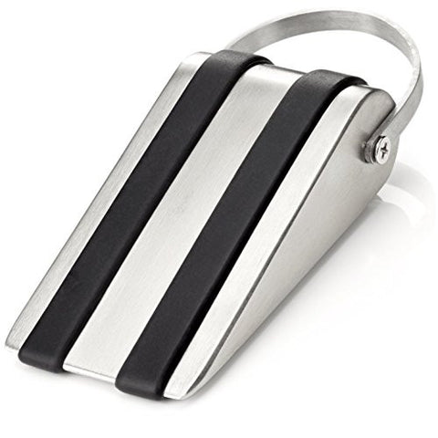 Barn Door Stop Silver and Black Wedge