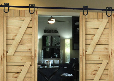 Barn Door Hardware 12ft Horseshoe Black Double Door - Barrett Renovation & Home