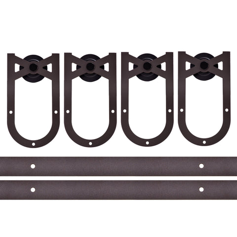 Barn Door Hardware 12ft Horseshoe Coffee Double Door - Barrett Renovation & Home