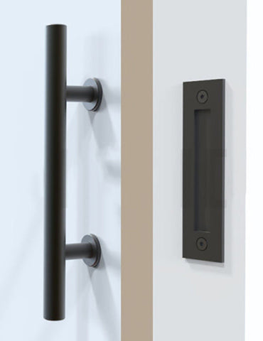 "Barn Door Handle 12"" & Flush Mount Black - Barrett Renovation & Home"