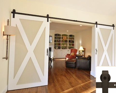 Barn Door Hardware Kit Black for double doors. Straight design rollers. Made of steel. 13ft long.