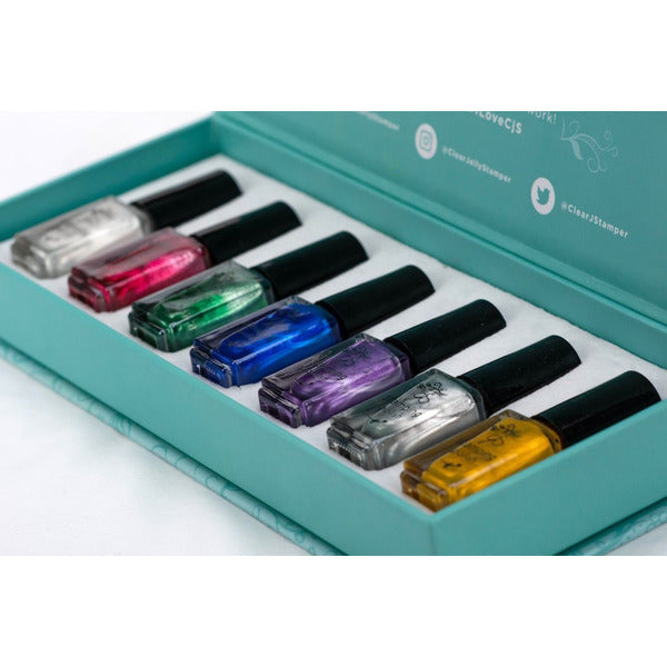 Clear Jelly Stamper Polish Kit - Christmas Glitz (7 Colours)