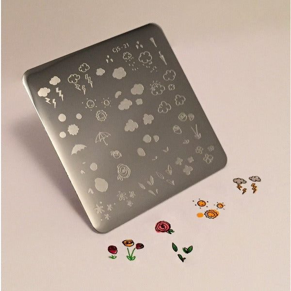 Clear Jelly Stamper Plate - Flower and Sky Doodle