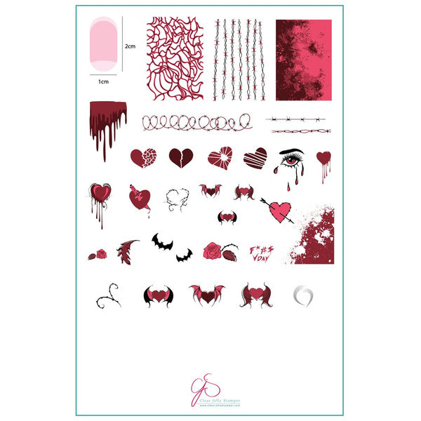 Clear Jelly Stamper Plate - Dark Heart (SEASONAL)