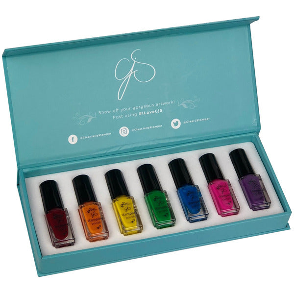 Clear Jelly Stamper Polish Kit - Rainbow (7 Colours)
