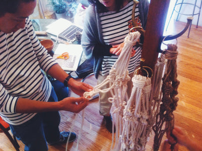 emily's first macramé workshop in her livingroom with Japanese magazine editors