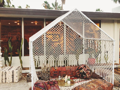Macrame tent in Palm Springs at Soukie Modern.
