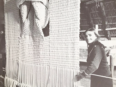 Sheila HIcks macrame and fiber artist Black and White Photo
